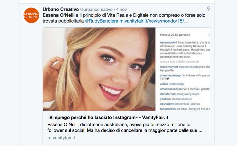 Modella vittima di Instagram