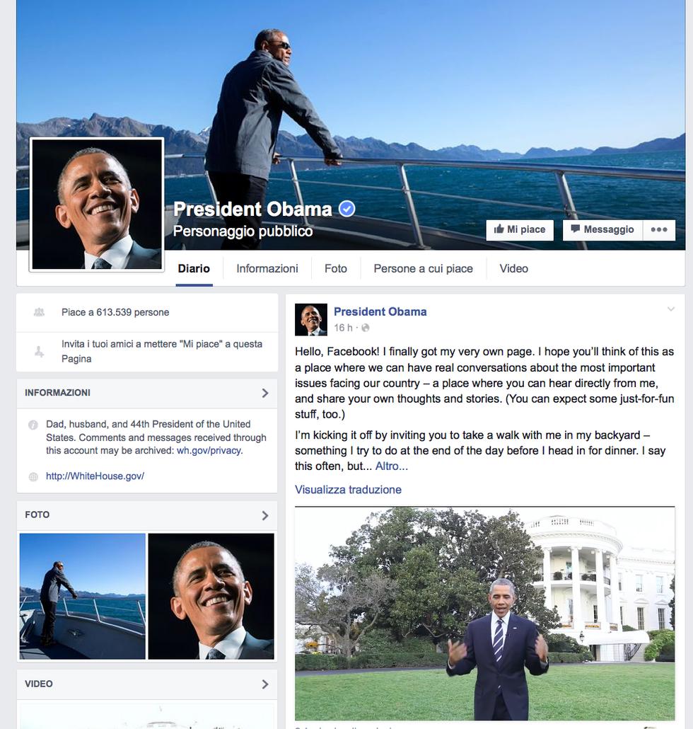 Barack Obama apre la sua pagina Facebook
