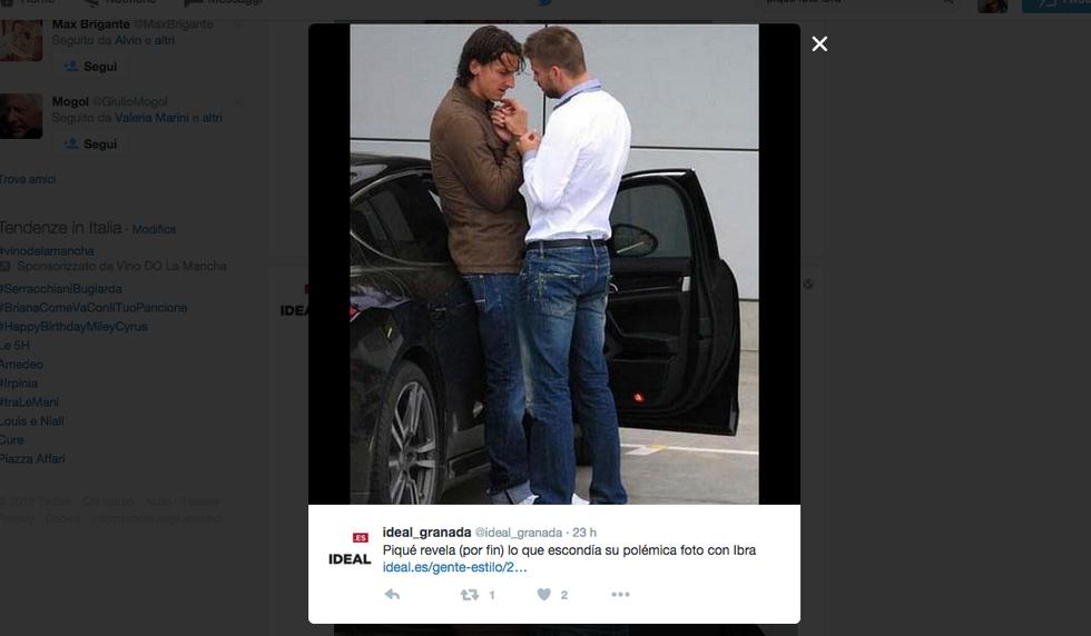 Gerard Piquè e Ibrahimovic nella foto bromantica