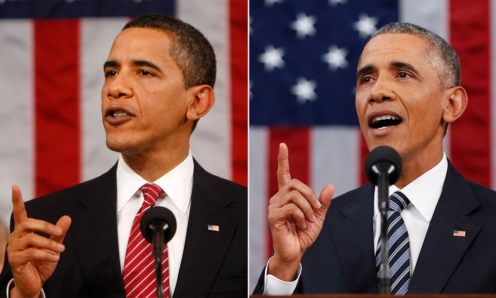 Barack Obama nel 2009 e nel 2016