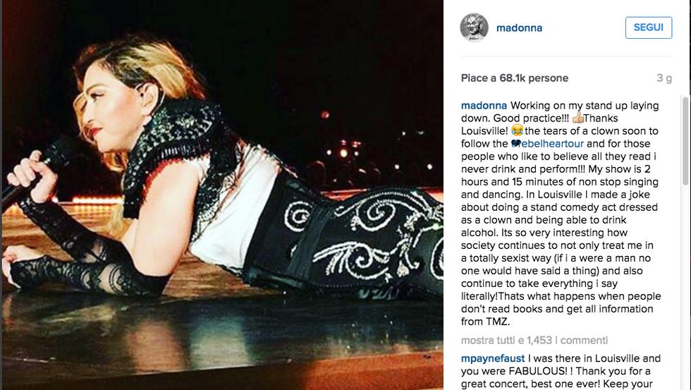 "Madonna: ""Polemica sessista. Non ero ubriaca sul palco"""