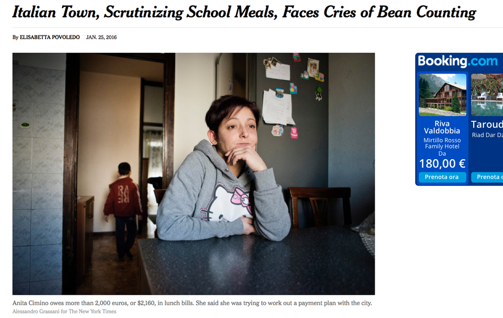 """Corsico, il caso dei """"furbetti"""" della mensa scolastica finisce sul New York Times"""