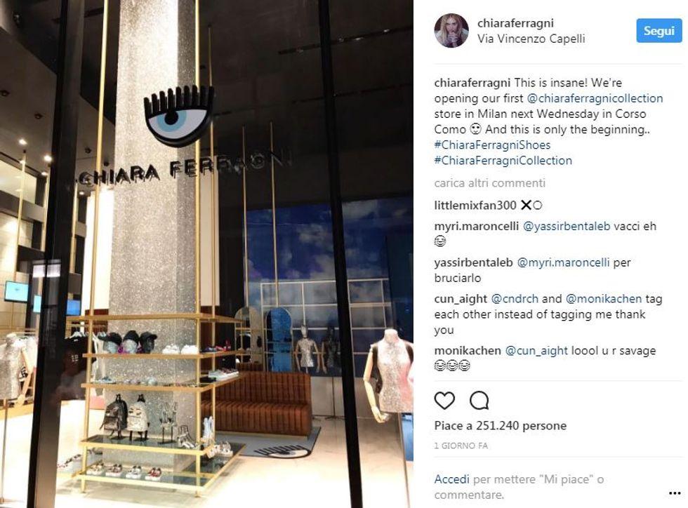 La vetrina del primo store mono-marca di Chiara Ferragni