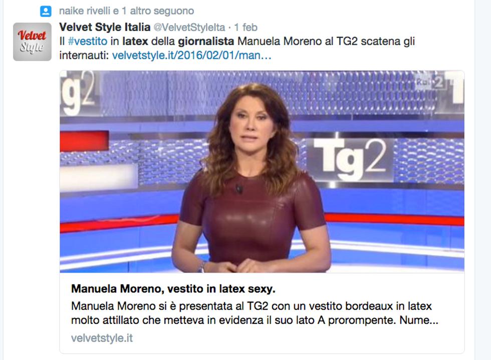 L'abito in latex della conduttrice tv Manuela Moreno