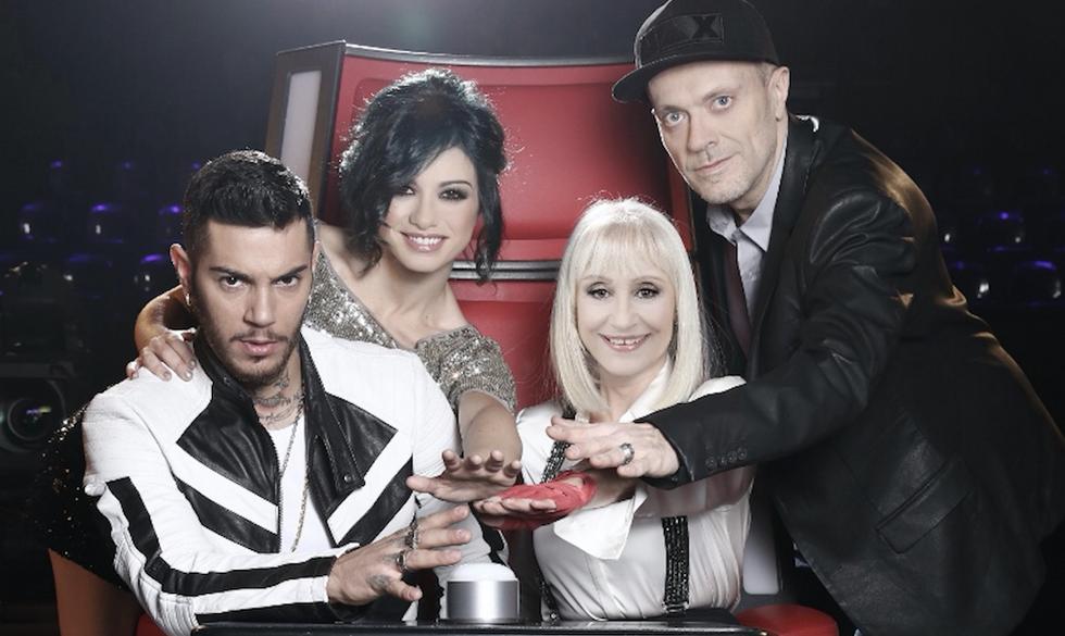 """I giudici di """"The Voice of Italy 4"""". Da sinistra, Emis Killa, Dolcenera, Raffaella Carrà e Max Pezzali"""