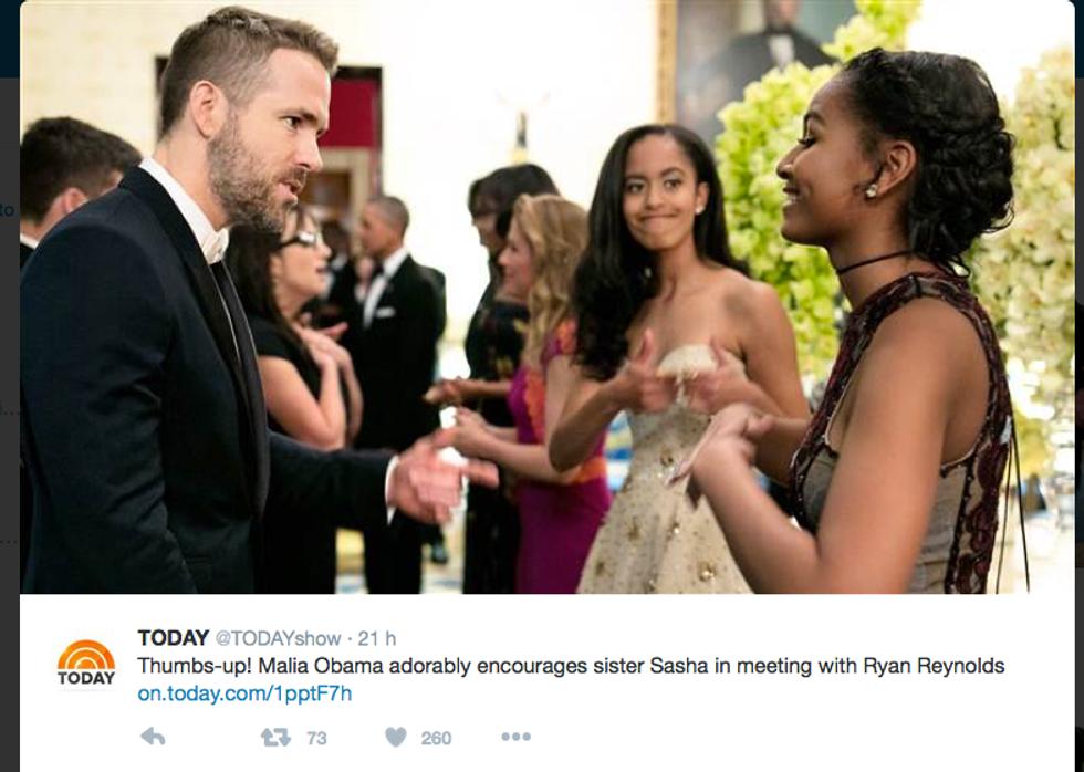 Sasha Obama, Malia Obama e Ryan Reynolds