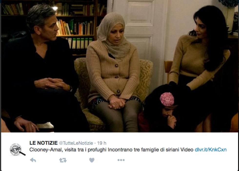 L'incontro tra i Clooney e i profughi siriani