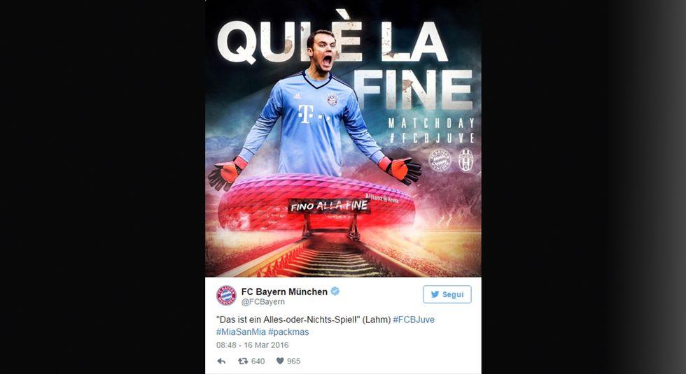 Bayern Monaco-Juventus: la sfida inizia via Twitter