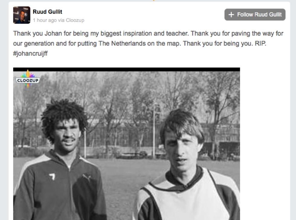Il mondo del calcio piange Johan Cruyff: i messaggi d'addio