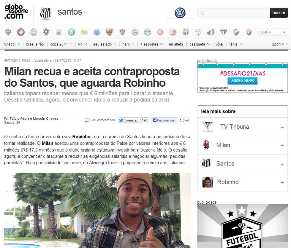 Robinho - Santos, lotta contro il tempo