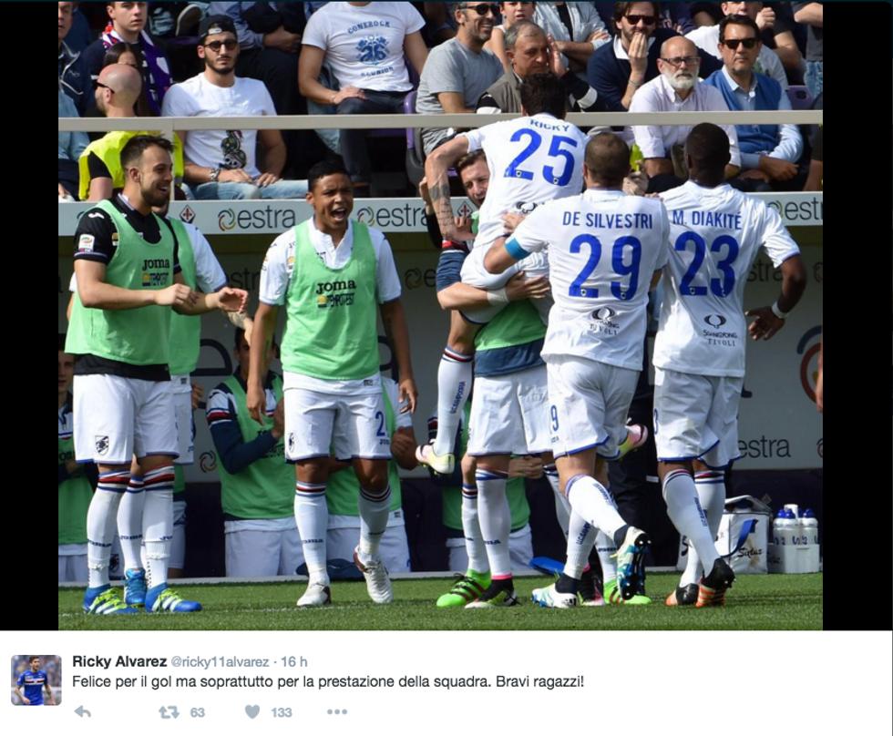 Fiorentina - Sampdoria 1-1, Ricky Alvarez risponde a Ilicic