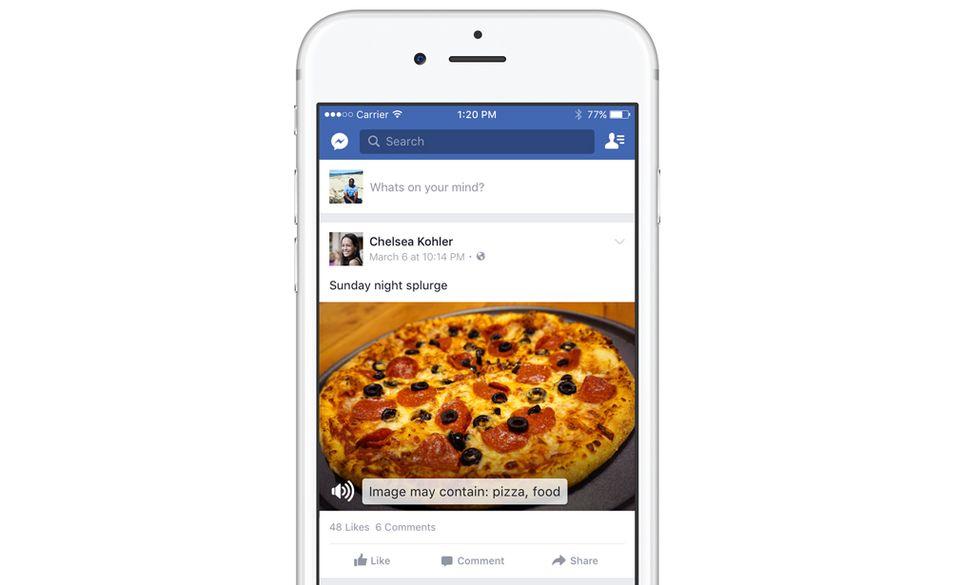 Facebook: intelligenza artificiale per raccontare foto e video ai non vedenti