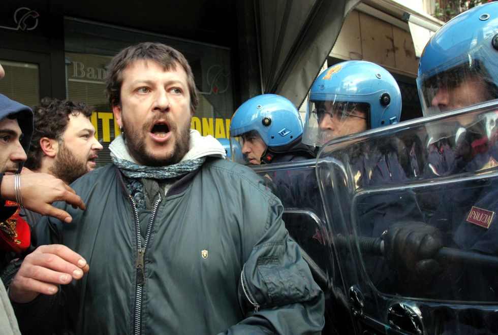 Luca Casarini proteste