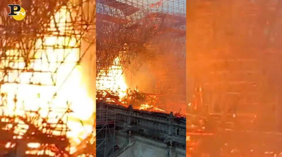 Incendio Notre Dame fiamme tetto pompieri video