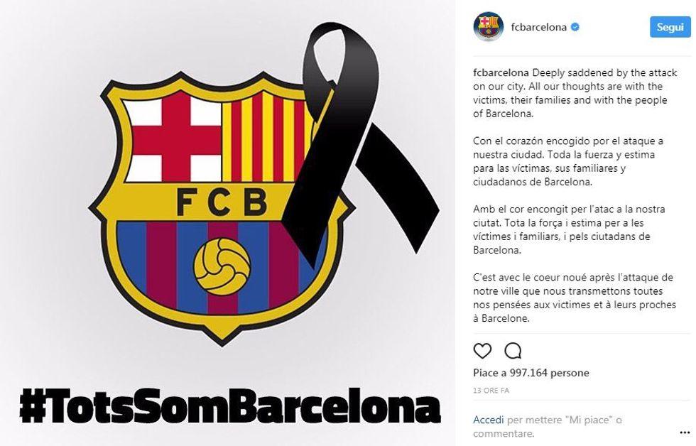 Il cordoglio social dopo l'attentato di Barcellona