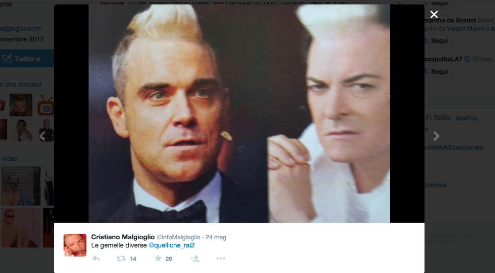 """Cristiano Malgioglio: """"Robbie Williams mi ha rubato il ciuffo"""""""