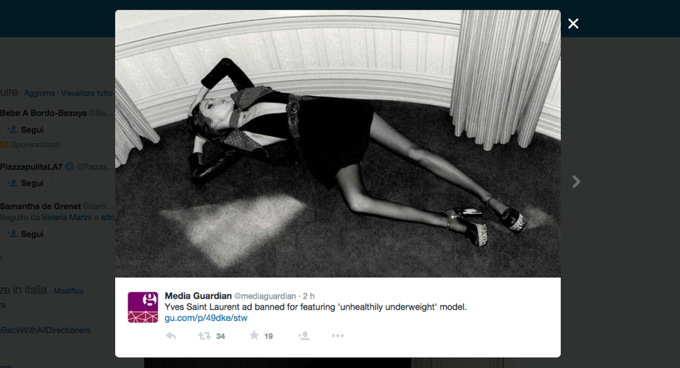 Yves Saint Laurent: modella troppo magra, spot censurato