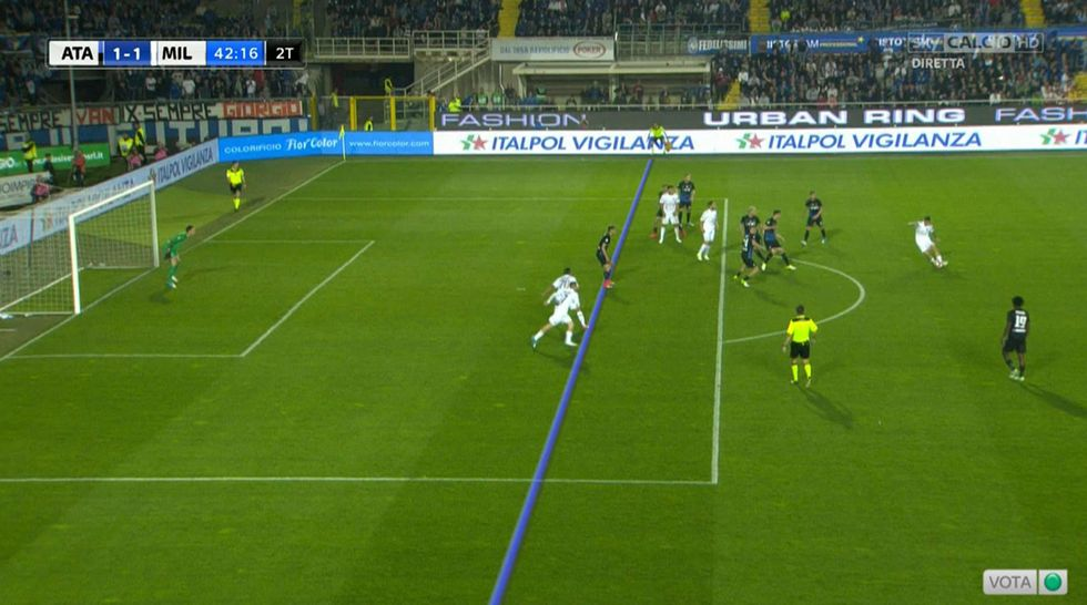 Atalanta Milan moviola fuorigioco Deulofeu