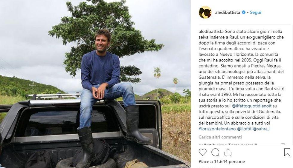 Alessandro Di Battista in una foto condivisa su Instagram dal Nicaragua