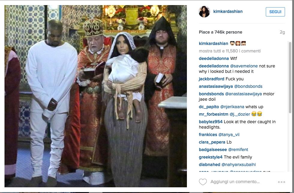 Kim Kardashian, battesimo armeno per la piccola North
