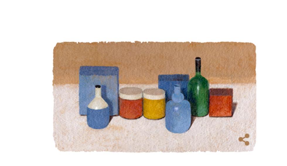 Giorgio Morandi, un doodle per il pittore italiano