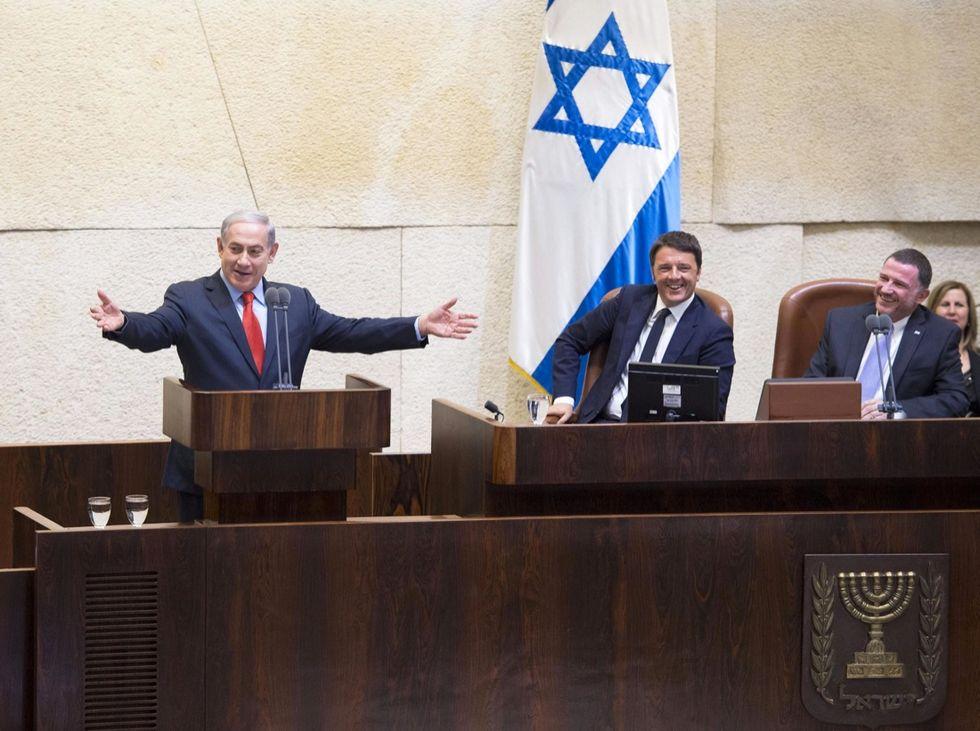Matteo Renzi alla Knesset, con Benjamin Netanyahu