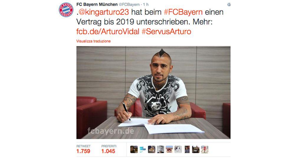 Ufficiale: Vidal al Bayern Monaco, 37 milioni di euro alla Juve