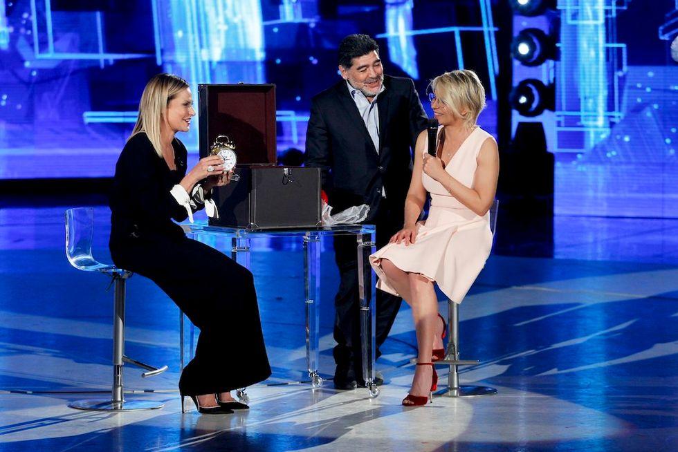 Maria De Filippi, Simona Ventura, Diego Armando Maradona Amici 2017