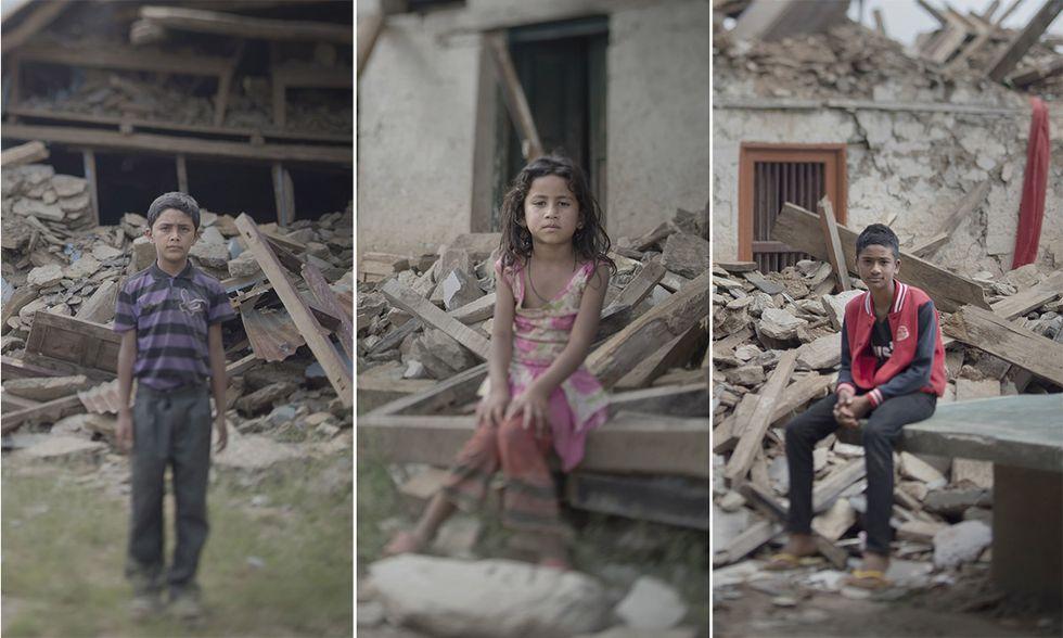 Bambini del Nepal dopo il terremoto