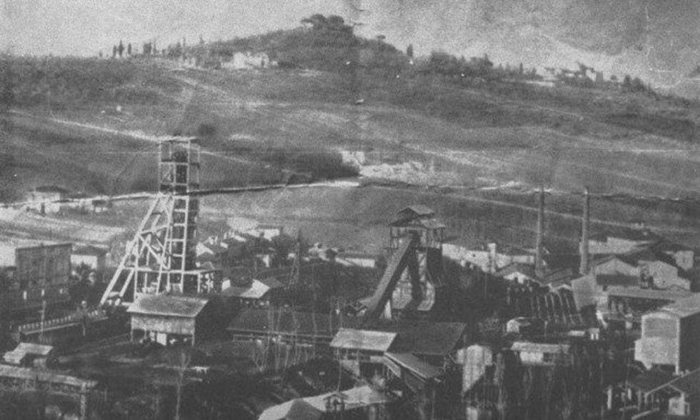 Miniere di Morgnano in una foto d'epoca