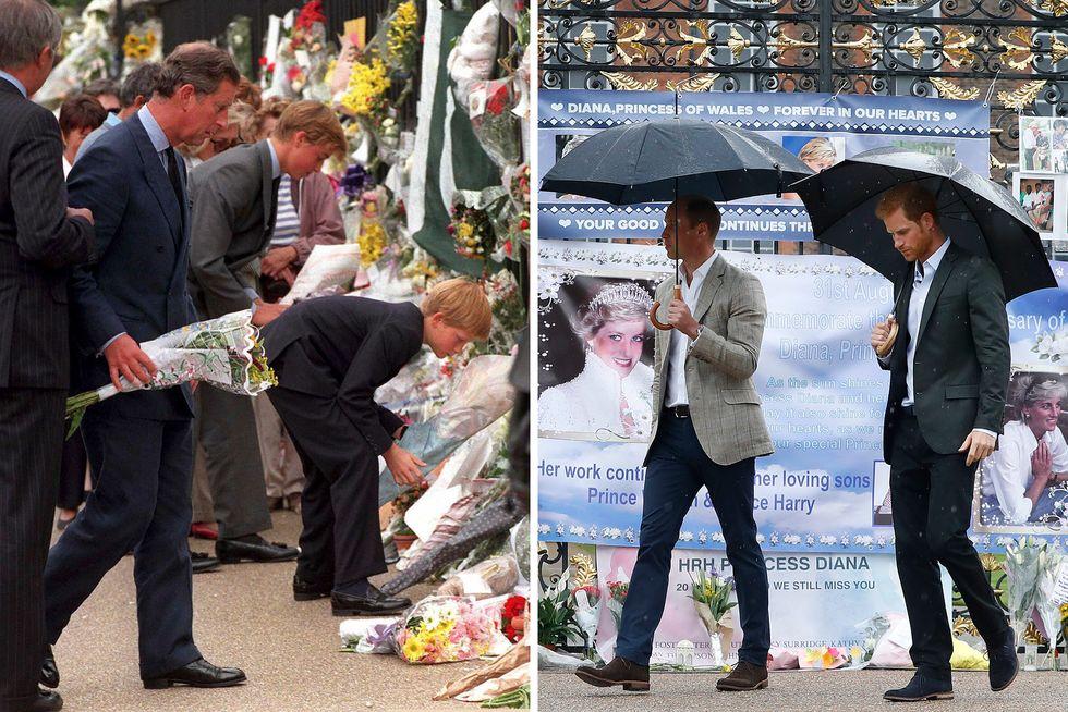 William e Harry ieri e oggi: l'omaggio dei figli di Diana davanti a Kensington Palace