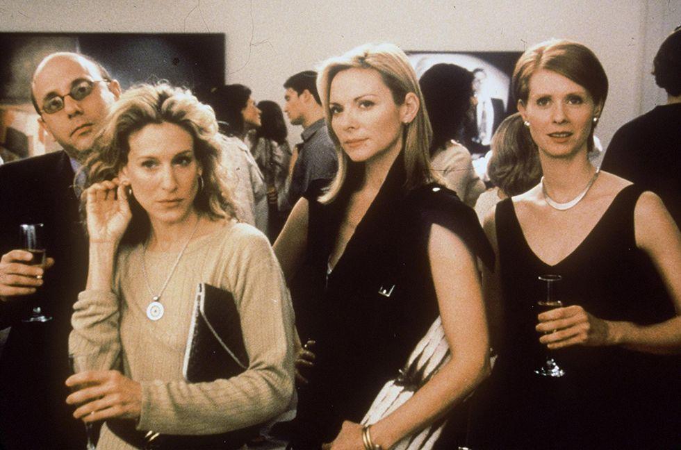 Carrie Bradshaw (Sarah Jessica Parker), Samantha Jones (Kim Cattrall) e Miranda Hobbes (Cynthia Nixon), nella foto manca la quarta amica: Charlotte York (Kristin Davis)