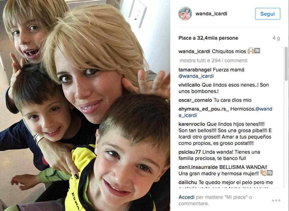 Wanda Nara con i suoi bambini