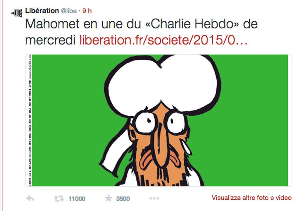Charlie Hebdo: la nuova copertina con Maometto