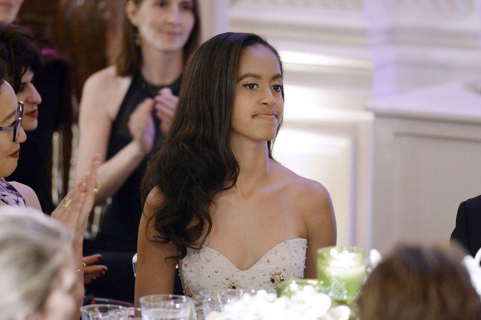 Malia Obama elegantissima durante una cena alla Casa Bianca