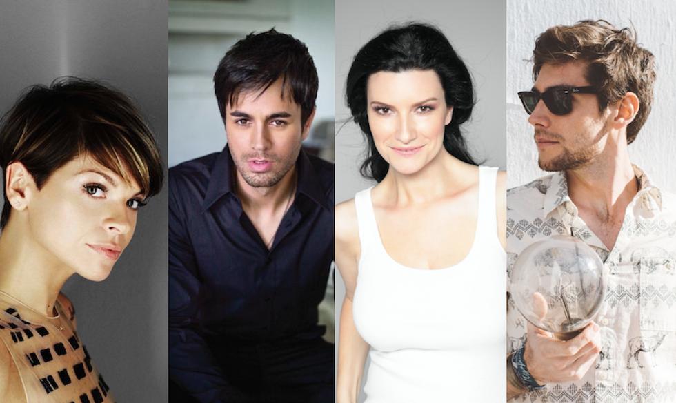 Da sinistra: Alessandra Amoroso, Enrique Iglesias, Laura Pausini e Alvaro Soler