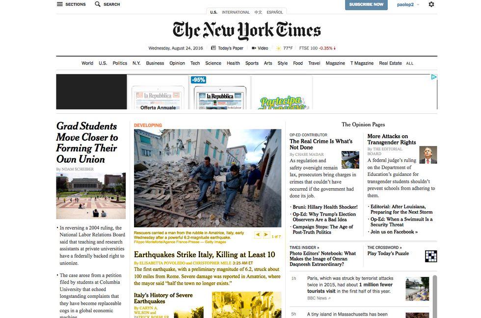 Il terremoto sulle prime pagine dei giornali stranieri