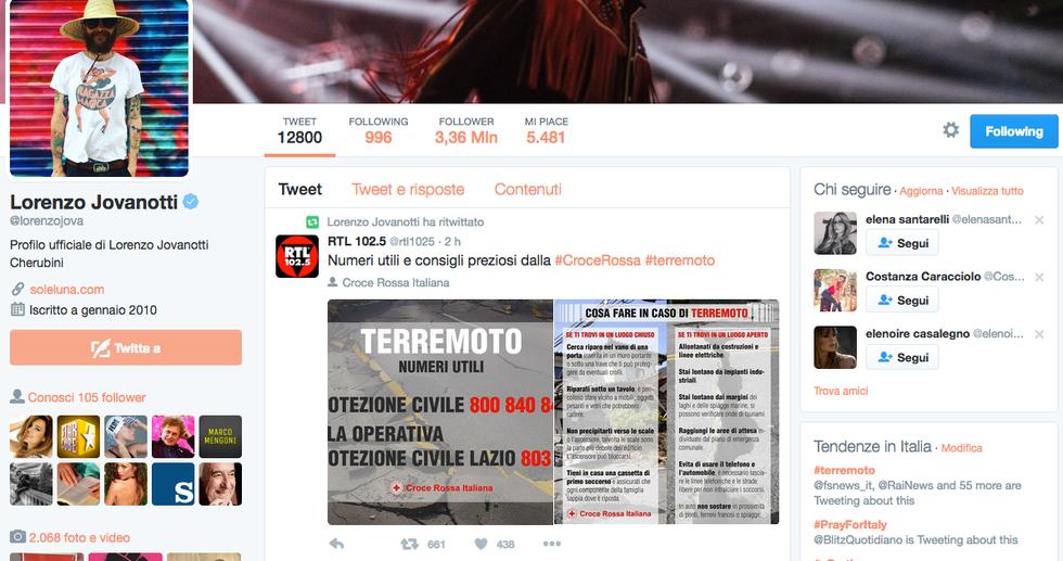 Terremoto in centro Italia, la solidarietà dei vip - Jovanotti