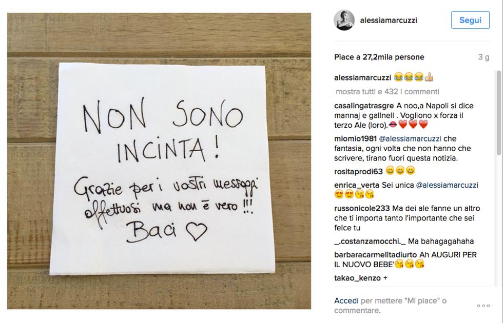 Alessia Marcuzzi, gravidanza smentita