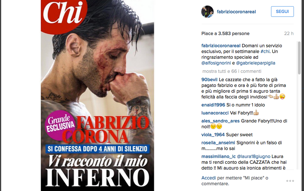 La cover di Chi con l'intervista a Fabrizio Corona