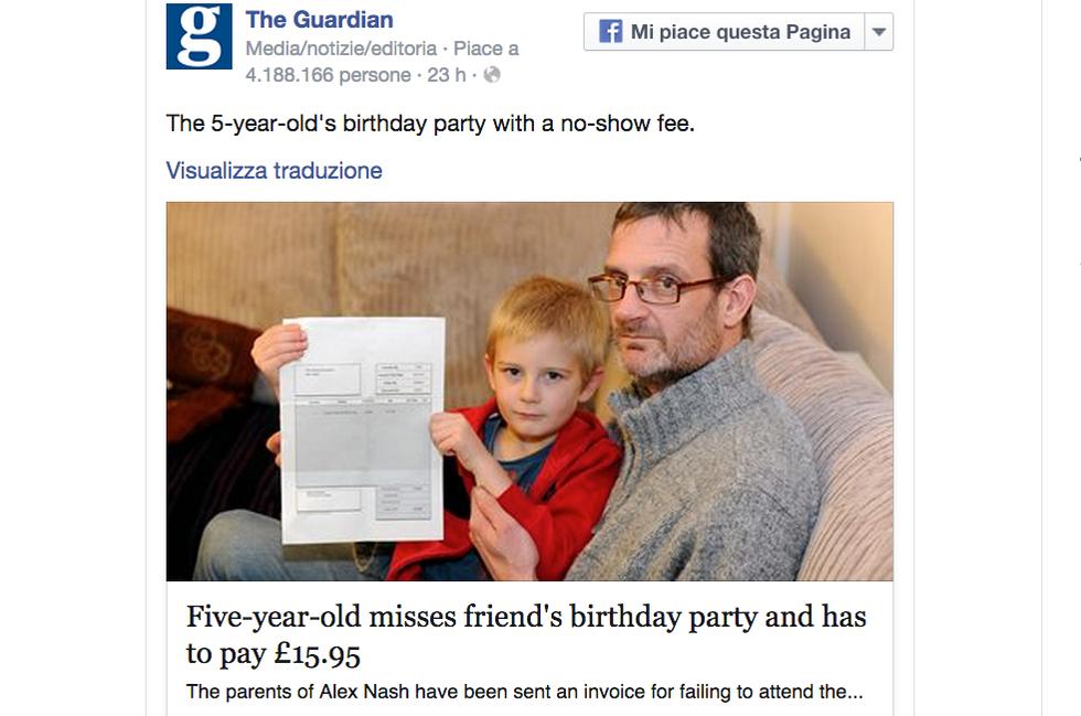 A 5 anni prende una multa: non è andato a una festa di compleanno