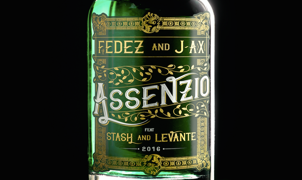 """Un particolare della cover del singolo """"Assenzio"""" di J-Ax, Fedez, Levante e Stash"""