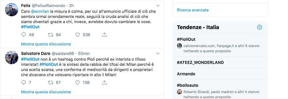 #PioliOut, in rete spopola la rabbia dei tifosi del Milan