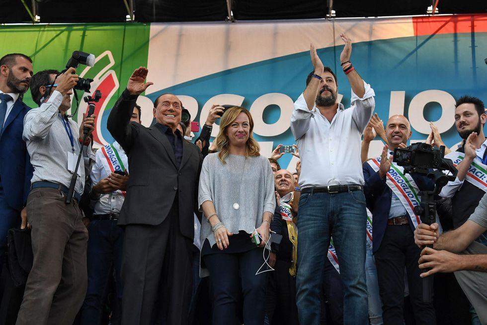 SAlvini Berlusconi Meloni Piazza San Giovanni