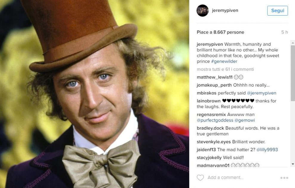 Gene Wilder, il tributo social di Hollywood