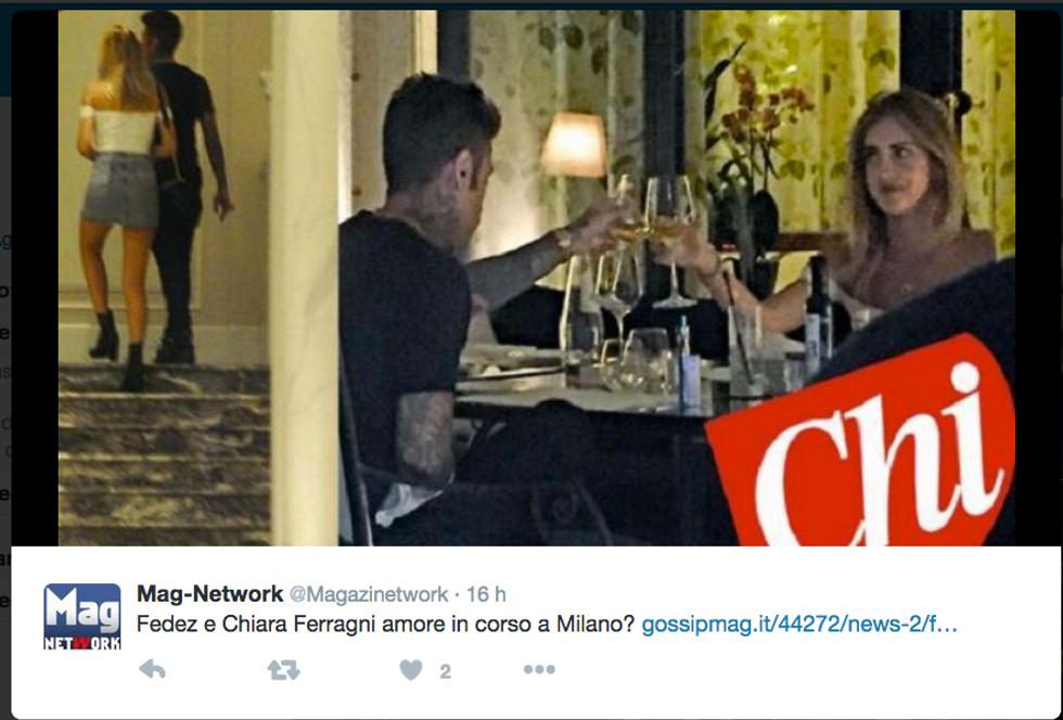 Fedez e Chiara Ferragni paparazzati da Chi