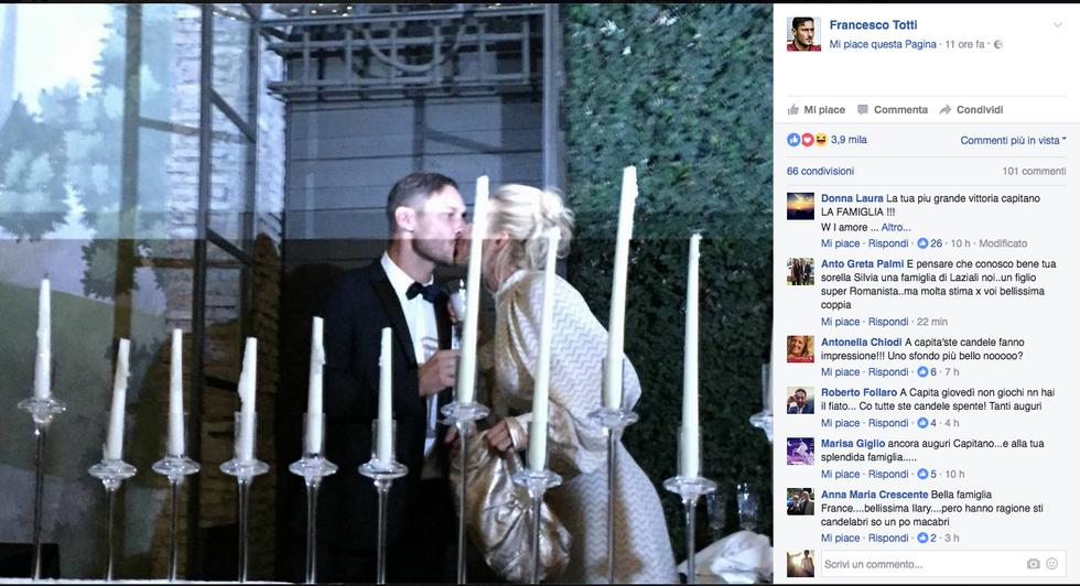 Il bacio tra Ilary Blasi e Francesco Totti