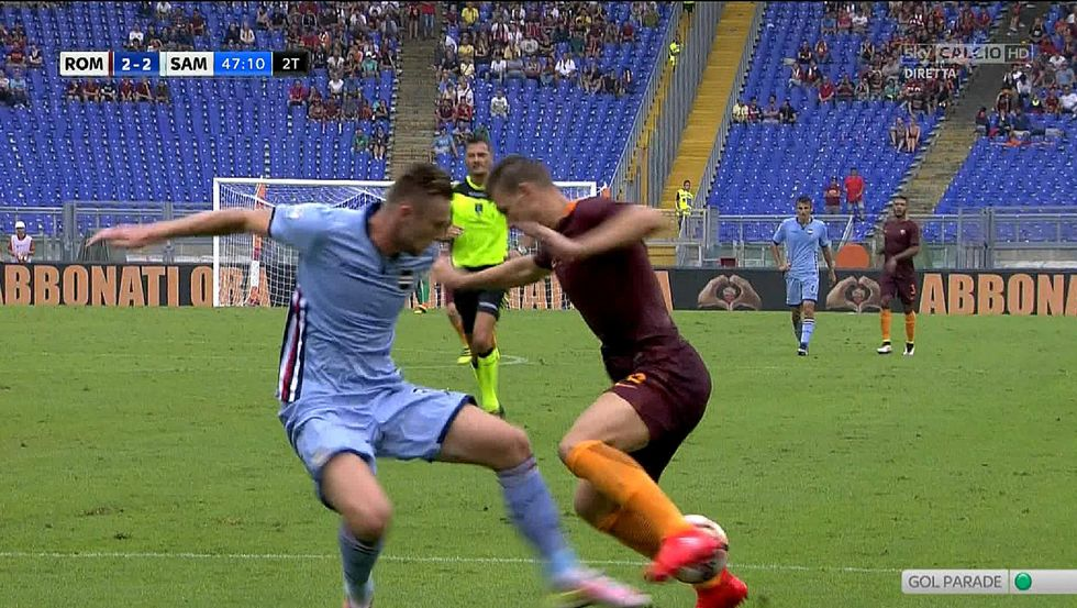 Moviola Roma Sampdoria Dzeko rigore