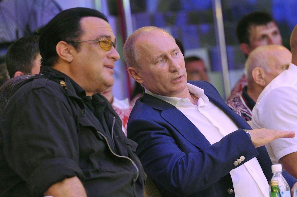 Il Presidente russo Vladimir Putin insieme all'attore Steven Seagal