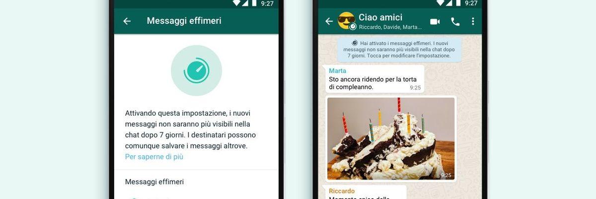 WhatsApp, arrivano i messaggi a scomparsa: dopo 7 giorni non si possono più leggere